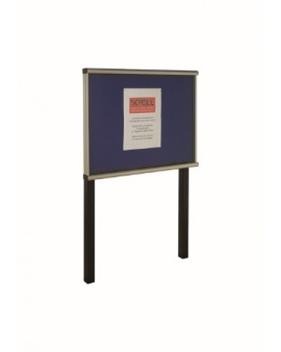 Exterior Glazed Post Mounted Noticeboards Satin Silver Frame